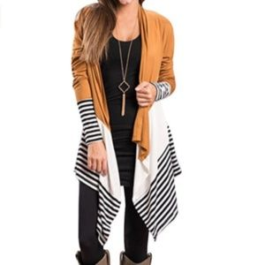 PAINTERNA Striped Long Open Front Cardigan